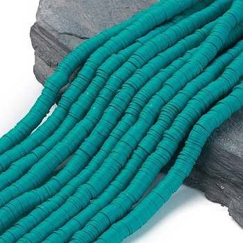 Flat Round Eco-Friendly Handmade Polymer Clay Beads, Disc Heishi Beads for Hawaiian Earring Bracelet Necklace Jewelry Making, Dark Cyan, 8x0.5~1mm, Hole: 2mm, about 380~400pcs/strand, 17.7 inches