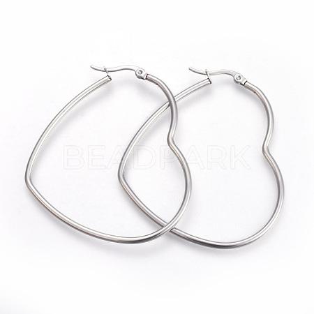201 Stainless Steel Hoop EarringsEJEW-A052-09C-1