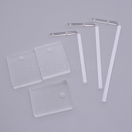 Transparent Acrylic Earring Display StandsEDIS-WH0007-01-1