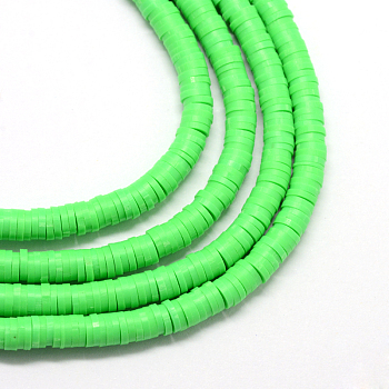 Handmade Polymer Clay Beads, Disc/Flat Round, Heishi Beads, Lime, 8x0.5~1mm, Hole: 2mm, about 380~400pcs/strand, 17.7 inches