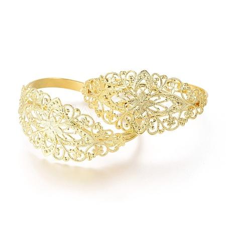 Brass Cuff BanglesX-BJEW-H079-G-1