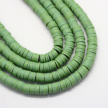 Flat Round Eco-Friendly Handmade Polymer Clay Beads, Disc Heishi Beads for Hawaiian Earring Bracelet Necklace Jewelry Making, Dark Sea Green, 8x0.5~1mm, Hole: 2mm; about 380~400pcs/strand, 17.7 inches