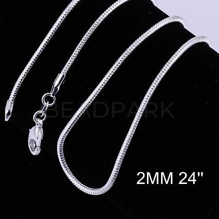 Brass Round Snake Chain Necklace MakingNJEW-BB10864-24-1