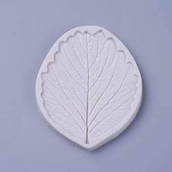 Food Grade Silicone Molds, Fondant Molds, for DIY Cake Decoration, Chocolate, Candy, Soap, UV Resin & Epoxy Resin Jewelry Making, Leaf, White, 70x55x4mm