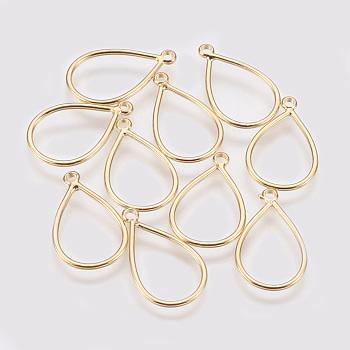 Brass Pendants, Real Gold Plated, Teardrop, 18x13x1mm, Hole: 1mm