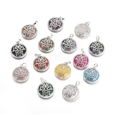 Natural & Synthetic Mixed Gemstone PendantsG-L512-J-1