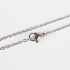Classic Plain 304 Stainless Steel Mens Womens Cable Chain Necklace Making STAS-P045-01P-1