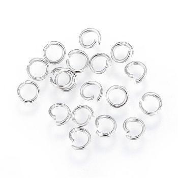 304 Stainless Steel Jump Rings, Open Jump Rings, Stainless Steel Color, 5x0.8mm; Inner Diameter: 3.5mm