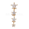 Piercing Jewelry Real 18K Gold Plated Brass Star Cubic Zirconia Navel Ring Belly Rings AJEW-EE0001-94-1