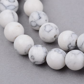 Natural Howlite Beads Strands, Round, Frosted, 8~8.5mm, Hole: 1mm; about 47pcs/strand, 15.5