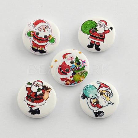 2-Hole Santa Claus Printed Wooden ButtonsX-BUTT-R032-059-1