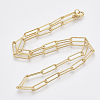 Brass Textured Paperclip Chain Necklace MakingMAK-S072-01A-G-2