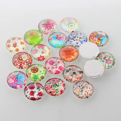 Half Round/Dome Floral Printed Glass CabochonsGGLA-A002-20mm-UU-1