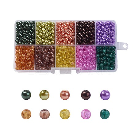 Mixed Baking Painted Crackle Glass & Glass Pearl Bead SetsHY-X0009-4mm-12-1