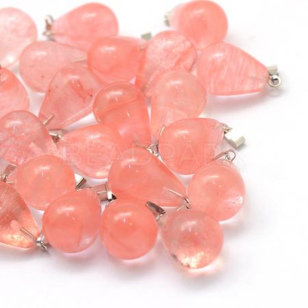 Teardrop Cherry Quartz Glass PendantsX-G-Q435-11-1