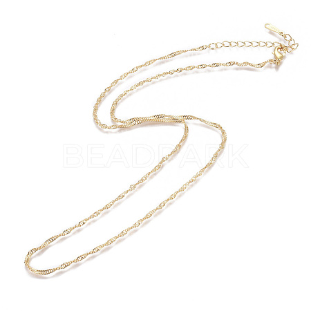Gold Plated Tin Alloy Twisted Singapore Chain Fine Necklace MakingNJEW-BB10191-18-1