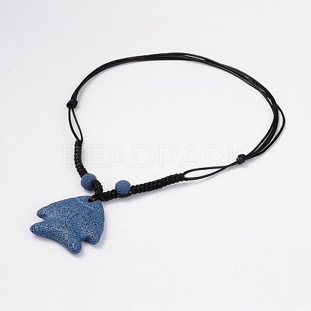 Fish Lava Pendants NecklacesNJEW-D206-01-1