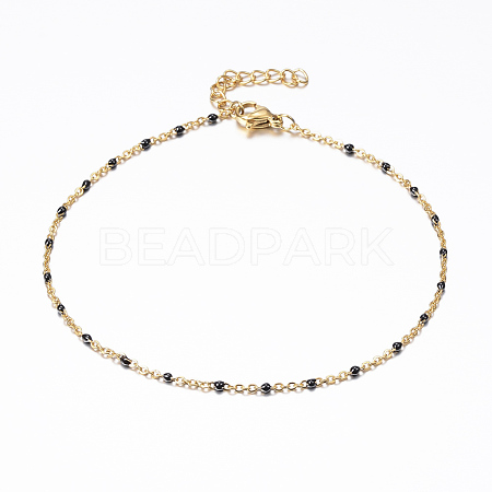 Vacuum Plating 304 Stainless Steel Cable Chain Anklets AJEW-K018-01A-1
