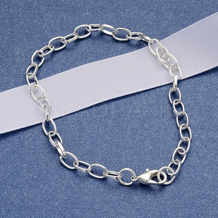 Iron Cable Chain Bracelet Making with Lobster Claw ClaspsX-IFIN-H031-S-1