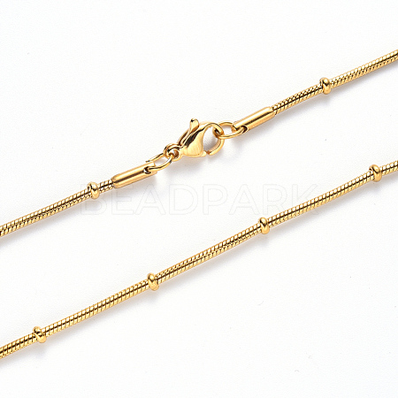 304 Stainless Steel Round Snake Chain Necklace MakingNJEW-S420-009A-G-1