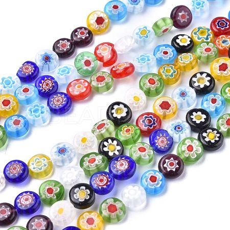 Flat Round Handmade Millefiori Glass BeadsLK-R004-54-1