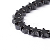 Black Christmas Star Non-Magnetic Synthetic Hematite Beads Strands X-G-D015-21-2