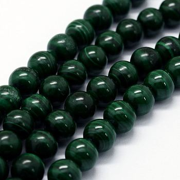 Natural Malachite Beads Strands, Round, 7~8mm, Hole: 1mm; about 52pcs/strand, 15.7
