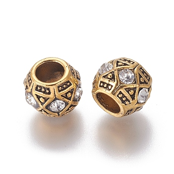 Alloy European Beads, Large Hole Beads, with Rhinestone, Rondelle, Crystal, Antique Golden, 12x9mm, Hole: 5mm