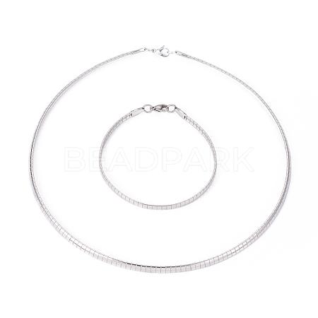 304 Stainless Steel Chain Necklaces & Bracelets SetsSJEW-E334-01B-P-1
