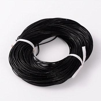 Cowhide Leather Cord, Leather Jewelry Cord, Black, about 1.5mm thick