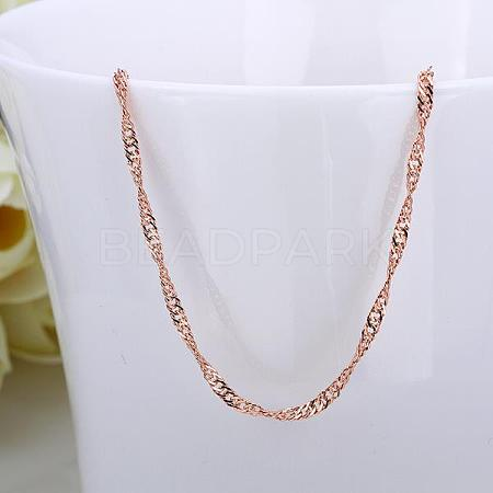 Rose Gold Plated Tin Alloy Twisted Singapore Chain Fine Necklace MakingNJEW-BB10186-18-1
