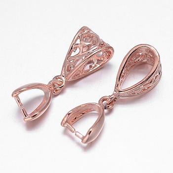 Filigree Rack Plating Brass Pendant Pinch Bails, Rose Gold, 13x8x5mm, Hole: 5x9mm and 7x4mm; Pin: 1mm