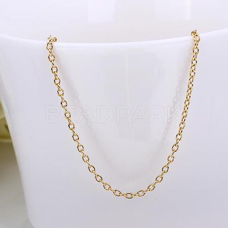 Gold Plated Brass Cable Chain Necklace MakingNJEW-BB10199-18-1