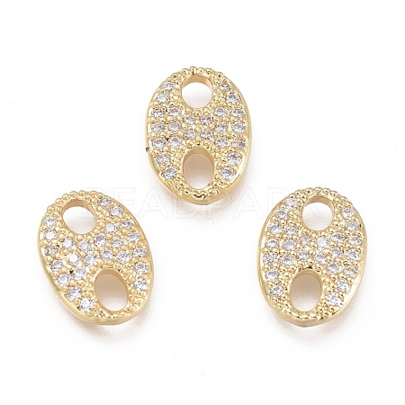 Brass Micro Pave Clear Cubic Zirconia Links KK-O127-04G-1