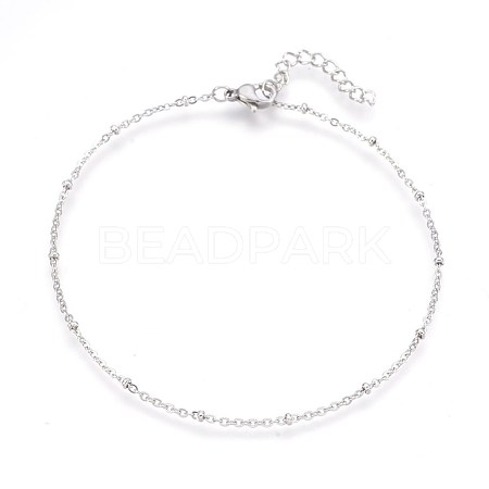 304 Stainless Steel Cable Chain AnkletsAJEW-P069-01P-1