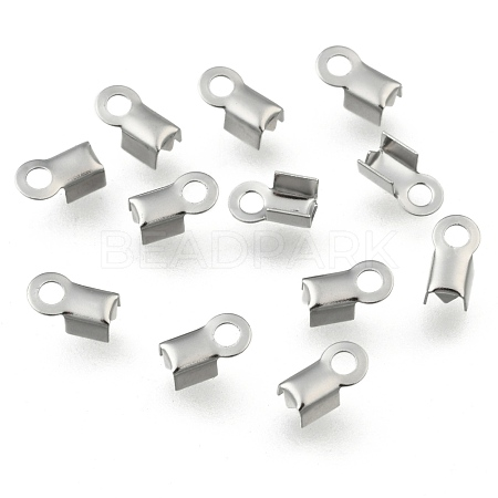 304 Stainless Steel Fold Over Crimp Cord Ends X-STAS-M009-01A-1