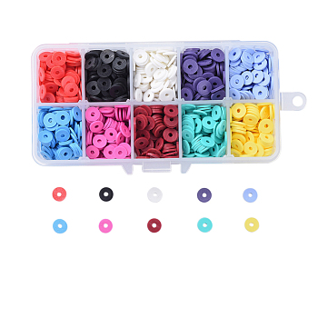 10 Colors Environmental Handmade Polymer Clay Beads, Disc/Flat Round, Heishi Beads, Mixed Color, 8x0.5~1mm, Hole: 2mm; about 1520~1600pcs/box
