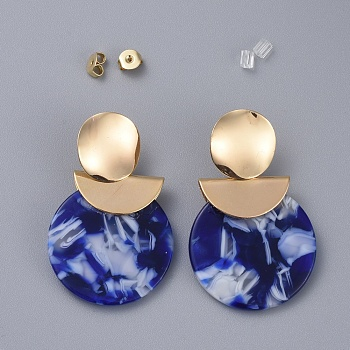Cellulose Acetate(Resin) Dangle Earrings, with Brass Stud Earring Findings, Brass & Plastic Ear Nuts and Cardboard Jewelry Set Boxes, Flat Round, Blue, 44mm; Pin: 0.7mm
