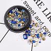 Glass Rhinestone & Brass Cabochons & Undrilled Micro BeadsMRMJ-S015-003G-2