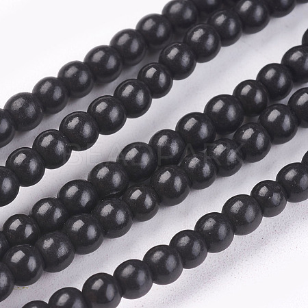 1 Strand Dyed Black Round Synthetic Turquoise Beads StrandsX-TURQ-G106-4mm-02C-1