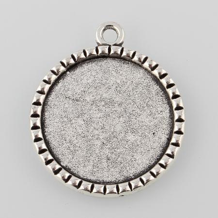 Tibetan Style Antique Silver Alloy Flat Round Pendant Cabochon SettingsX-TIBEP-M022-38AS-1