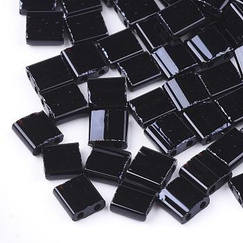 2-Hole Opaque Glass Seed Beads, Rectangle, Black, 5x4.5~5.5x2~2.5mm, Hole: 0.5~0.8mm