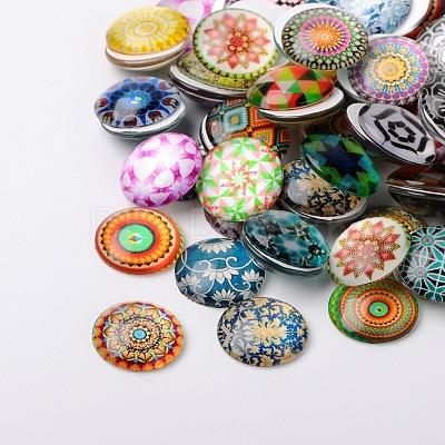 Mosaic Printed Glass Half Round/Dome CabochonsX-GGLA-N004-10mm-G-1