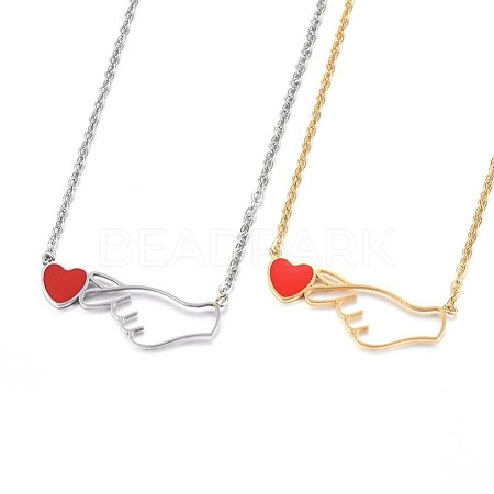304 Stainless Steel Pendant NecklacesNJEW-H497-06-1