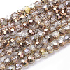Faceted Round Half Plated Electroplate Glass Beads StrandsX-EGLA-J042-4mm-H03-1
