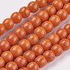 1 Strand Dyed OrangeRed Round Synthetic Turquoise Beads Strands X-TURQ-G106-6mm-02G-1