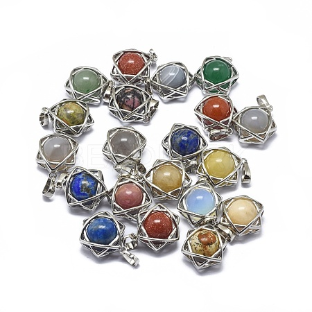 Natural & Synthetic Mixed Gemstone Pendants G-F649-I-1