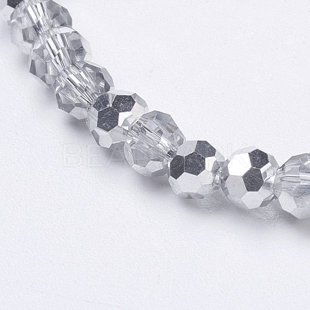 Faceted Round Half Plated Electroplate Glass Beads Strands X-EGLA-J042-4mm-H02-1