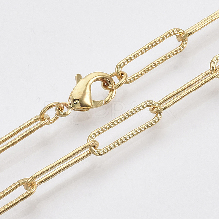 Brass Textured Paperclip Chain Necklace MakingMAK-S072-01A-G-1
