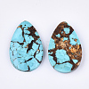 Assembled Natural Bronzite and Synthetic Turquoise Pendants G-S329-076-2